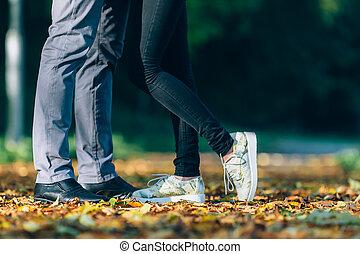 femme, style de vie, famille, nature, couple, love., jeune, pieds, arrière-plan., homme, concept., heureux