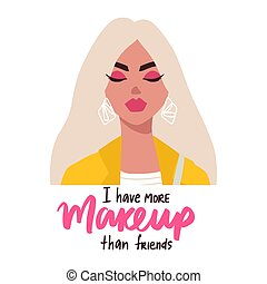 femme, style, lunettes, branché, blond, plat, phrase., quote., portrait, inspiration, girl, maquillage, mode