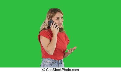femme, téléphone, chroma, écran, conversation, vert, key., joli