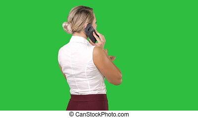 femme, téléphone, chroma, écran, conversation, vert, key.