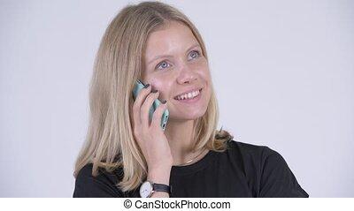 femme, téléphone, jeune, figure, conversation, blond, heureux