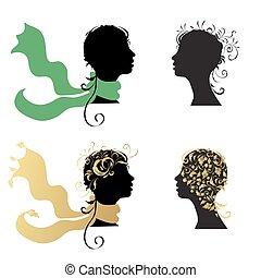 femme, tête, silhouette, beau
