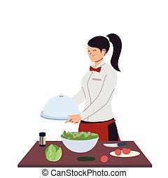femme, table, nourriture, serveuse