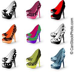 femme, talon, chaussures, élevé