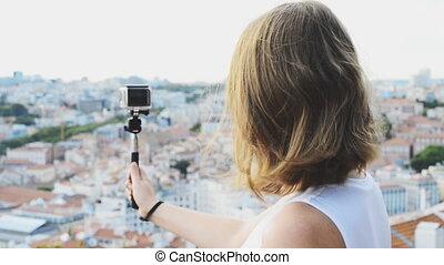 femme, tir, video., appareil photo, voyageur
