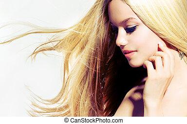 femme, toucher, beauté, portrait., jeune, figure, elle, beau