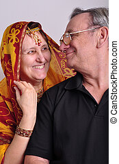 femme, traditionnel, homme, indien, habillement, personne agee