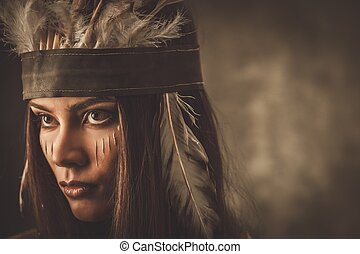 femme, traditionnel, indien, figure, coiffure, peinture