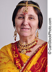 femme, traditionnel, indien, personne agee, jeweleries, habillement