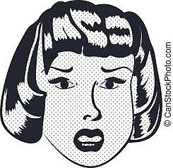 femme, triste, figure, vecteur, mouth., ouvert