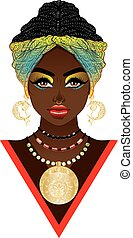 femme, turban, africaine