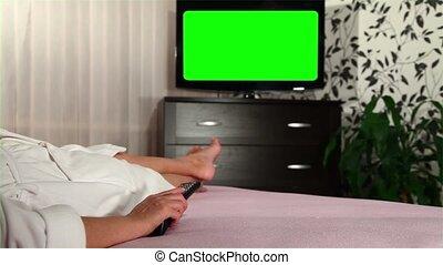 femme, tv, montres, screened, 2, vert