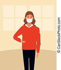 femme, utilisation, figure, maison, masque, covid19