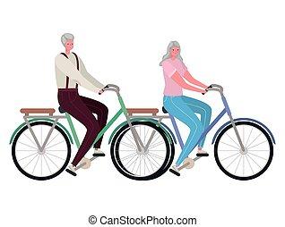 femme, vélo, homme, équitation, personne agee, vecteur, conception