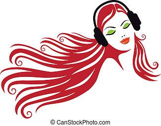 femme, vecteur, écouteurs