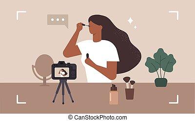 femme, vecteur, beauté, influencer., grimer, maquillage, blogger., enregistrement, video.