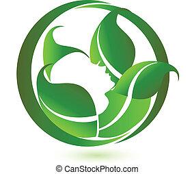 femme, vecteur, vert, pousse feuilles, relaxation, logo, icône