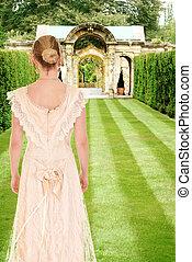 femme victorian, jardin, formel
