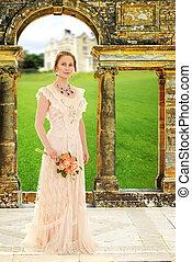 femme victorian, voûte, jardin