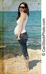 femme, vieux, pregnant, photo, image, plage., style.