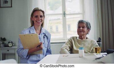 femme, visiteur, fauteuil roulant, santé, portrait, personne agee, home.