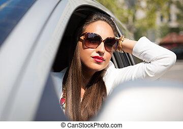 femme voiture, elle, téléphone