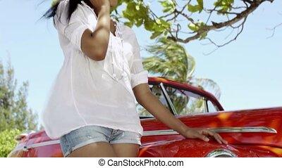 femme voiture, jeune, téléphone