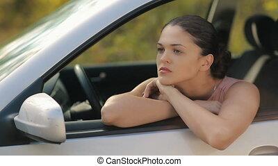 femme voiture, jeune, triste