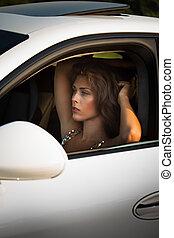 femme voiture, mode, jeune, portrait