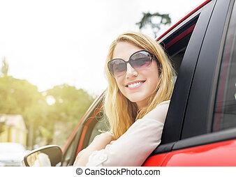 femme voiture, rouges