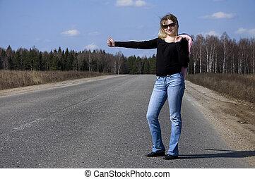 femme, voiture, sexy, arrêt