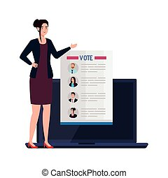 femme, vote, vecteur, ordinateur portable, papier, conception