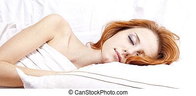femme, whitelying, lit, dormir