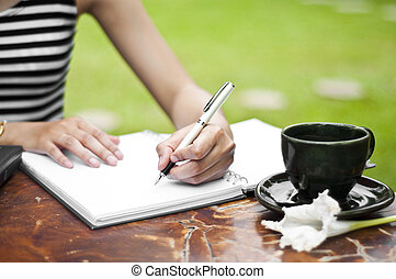 femme, writing., main