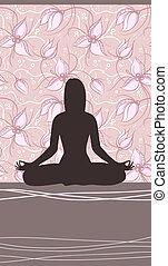 femme, yoga, backgrount, méditer, floral, carte