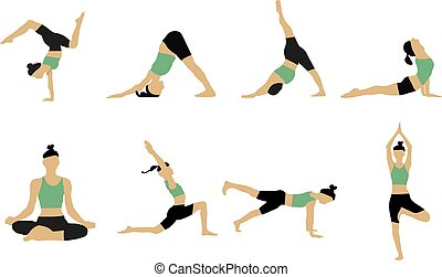 femme, yoga, poses., collection