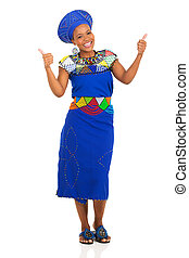 femme, zoulou, donner, jeune, haut, pouces, africaine