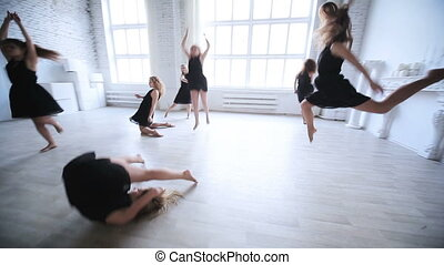 femmes, équipe, danser.