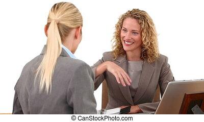femmes affaires, blonds, avoir, réunion