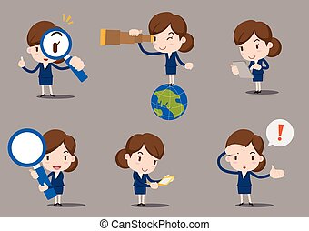 femmes affaires, dessin animé