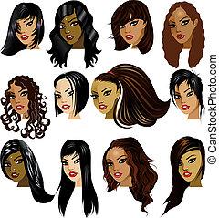 femmes, brunette, faces