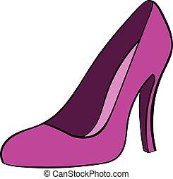 femmes, chaussures, dessin animé, icône