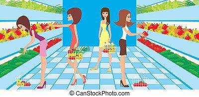 femmes, choisir, légumes
