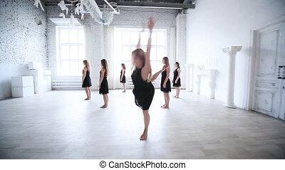 femmes, clip., danse, équipe