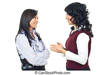 femmes, conversation, heureux, avoir, deux