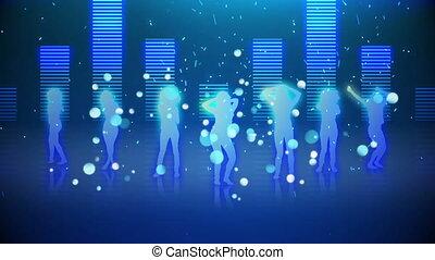 femmes, danse, silhouette