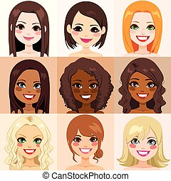 femmes, diversité, peau