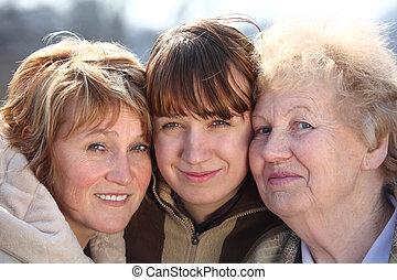 femmes, générations, portrait, une, famille, trois