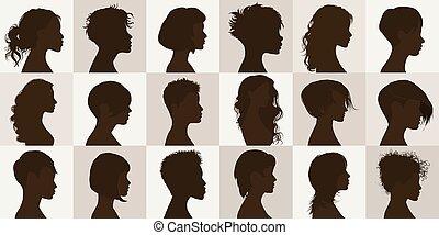 femmes, hairstyle., moderne, collection, haircut., têtes, anonyme, portrait, coiffure, isolé, beau, girls., face femelle, charmant, silhouette, ensemble, groupe, vecteur, noir, profil