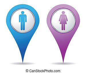 femmes, hommes, emplacement, icônes